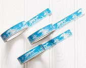 Christmas gift wrapping tape - blue vinyl Xmas gift tape for packaging presents