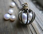Pearl Necklace June Gifts for Mom Freshwater Gemini Zodiac Birthstone Boho Modern Gemstone Statement Jewellery Jewelry metal cage Pendant