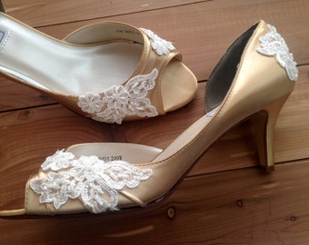 SALE Wedding shoes peep toe low high heel bridal shoes embellished with ivory French lace and sequins and pearls - Ready to Ship Size 11W