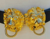 Vtg Mimi Di N Gilt Gold Lion Head Belt Buckle on Adjustable Belt size Small Medium