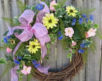 Spring / Summer Door Wreath - Spring / Summer Door Wreath, Light Pink Wreath, Elegant Wedding Wreath, Wreath, Horns Handmade, Pink Wreath