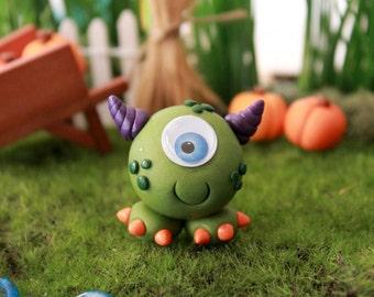 Polymer Clay Cute Monster - Miniature Monster -  Halloween Monster - Terrarium Accessory - Fairy Garden - Miniature Garden - Gnome Garden