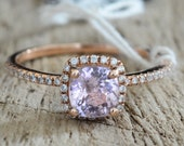 Certified 1.13 carat peach champagne sapphire, rose gold, diamonds halo engagement ring 1186P-ANN