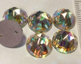 Vintage Crystal AB Rhinestone 10mm Sew On Sparklies QTY - 6