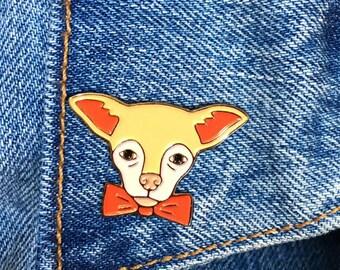 Chihuahua with Bowtie Pin, Soft Enamel Pin, Jewelry, Gift, Art (PIN23)