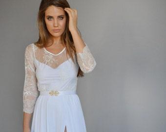Lace wedding dress, mixed lace top, wedding dress, long sleeves wedding dress, slit wedding dress,chiffon wedding dress