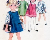 1960s Girl's Dress & Jumper Pattern Butterick 3688 Child's Vintage Sewing Pattern A Line Dress or Pinafore Size 4