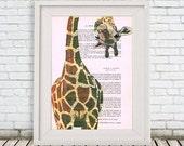 Geek Giraffe Print, Giraffe upside down, Wall Art Prints, Giraffe Art Print, Giraffe Decor, Christmast Gift, Geek Print, Wall Hanging