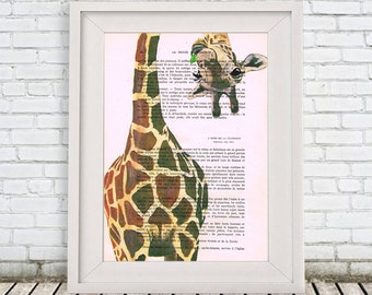 Geek Giraffe Print, Giraffe upside down, Giraffe Art Print, Giraffe Decor, Christmast Gift, Merry Everything,Happy Always,Joy Peace and Love