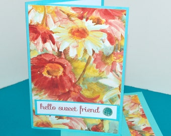 Folded Note Cards set of 4 - Stationary - Floral Note Cards - Floral Designer Note Cards -  Note Cards Blank - Pretty Note Cards