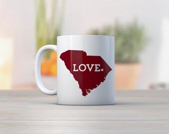 South Carolina Mug // Red // Gift For Her  // Home State Love // white ceramic mug // USC Gamecocks