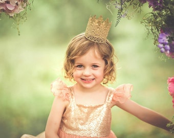 READY to SHIP|| mini Sage|| vintage gold lace crown || headband option || photography prop ||newborn-toddler