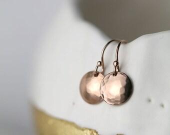 Rose Gold Dangle Earrings - Rose Gold Fill Disc Earrings- Friend Gift - Tiny Earrings -  Jewellery by Burnish
