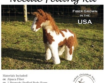 Horse Felting Kit Custom-Choose your fiber & Make your favorite horse.  Form, fiber, felting needles, foam work surface, photo instructions.