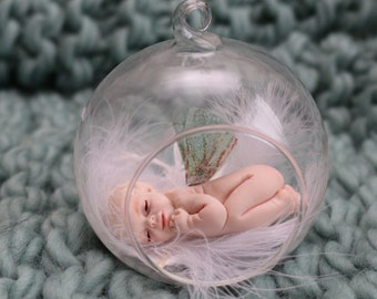 Cute ooak fairy baby bauble, hand sculpted fantasy