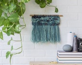 Woven Wall Hanging   Small Abstract Teal and Blue Weaving on Wood Dowel with Fringe