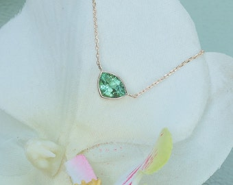 Triangle Paraiba Color Tourmaline Layering Necklace with Delicate Cable Chain Keepsake Gift for Her