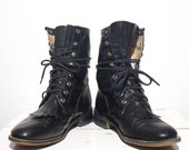 7.5 M | Women's Black Lace Up Roper Boots