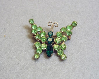 1960s Vintage 2 Color Green Rhinestone Butterfly Pin