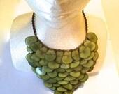 Tagua Bib Necklace/ Green Tagua Necklace / Tagua Jewelry/ Boho Necklace /Statement Necklace