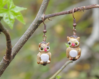 Lampwork Owl Earrings, Antiqued Copper Dangle Earrings, Owl Jewelry, Lampwork Glass and Copper Earrings, Fall Fashion