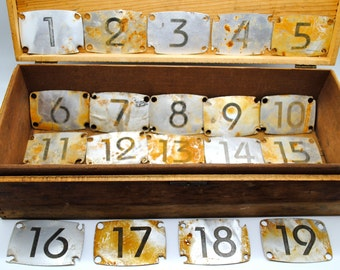 Vintage - Locker Number Plates - Industrial Number Plates - Art Deco Aluminum Number Plates - Lot of 185 Plates - Vintage Numbers  1 - 19