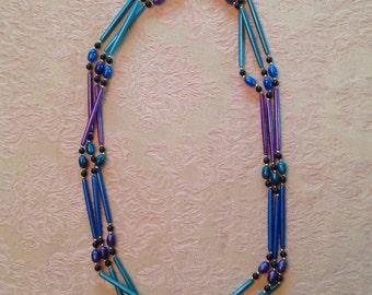 3 Strand Bead Necklace Blue Green Purple