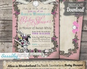 Alice in Wonderland Baby Shower Invitation - Pink Pastel - INSTANT DOWNLOAD -  Editable & Printable Party Invitation by Sassaby Parties