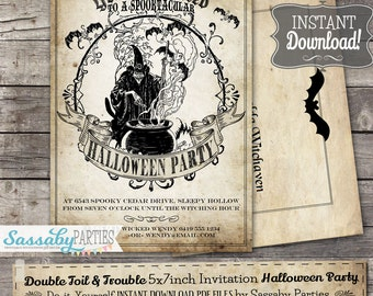Double Toil & Trouble Halloween Party Invitation - INSTANT DOWNLOAD - Editable Printable Witch, Scary, Vintage Invitation by Sassaby Parties