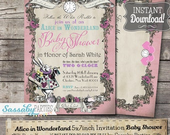Alice in Wonderland Baby Shower Invitation - Pink Pastel - INSTANT DOWNLOAD -  partially Editable & Printable Party Invite Sassaby Parties
