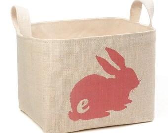 SALE! Monogrammed Bunny Storage Basket, Pink