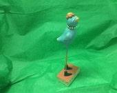 Long leg bird, vintage, paper mâché resin