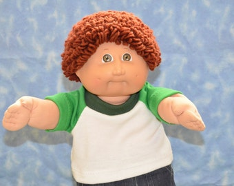 "Cabbage Patch Clothes - T-Shirt for 16"" to 18"" Boy Dolls - Kelley Green and White - Handmade"