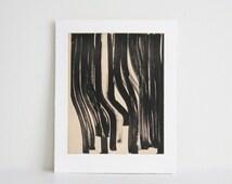 "Sale. Only 35 dollars! Minimalist .  Art Etching . Black/White Home Decor: ""Marker"". Size 10.5"" x 12.5"". unframed"