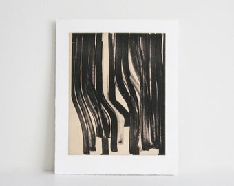 "SALE . Minimalist .  Art Etching . Black/White Home Decor: ""Marker"". Size 10.5"" x 12.5"". unframed"