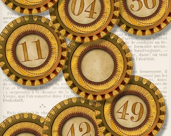 Steampunk Number Circles printable 2 inch diameter digital download paper crafting instant download digital collage sheet - VDCIST1327