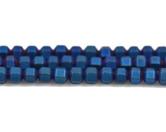 3mm Matte Blue Iris HEMATITE HEXAGON Beads, Titanium coated gemstone beads, full strand, 150 beads, ghe0127