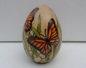 wood egg Monarch butterfly pyrography wood burning