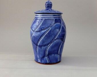 Blue Pottery Jar - Carved Lidded Canister