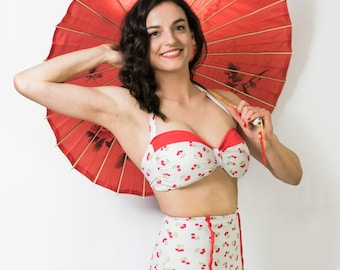 "Vintage Cherry High Waist Swimsuit - ""Velma"""