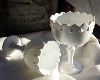 2 White Milk Glass Compotes, Vase Set, Indiana Glass, Tear Drop Pattern