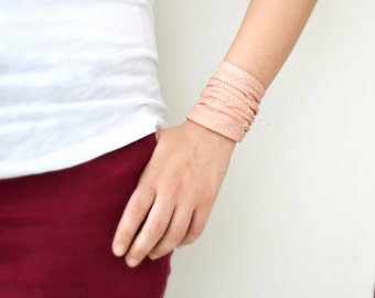 Leather Cuff, Leather Bracelet, Womens Leather Jewelry, Wrap Leather Cuff,  Salmon Pink Peach Jewellery, Girlfriend Gift, Gift For Her, Wife