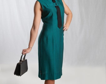 1950's Teal Sheath Dress With Tie Detail