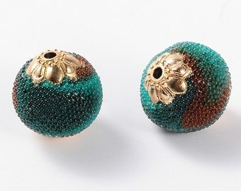 Burnt Sienna and Teal Antique Golden Metal Round Handmade Indonesia Beads -5