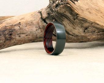 Size 9.5 - Black Zirconium Ring Lined with Exhibition Grade Cocobolo