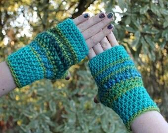 Blue, Teal, Aqua and Green Fingerless Crochet Gloves