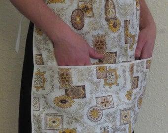 Vintage MCM Print Waist Apron OSFA Vendor Style Deep Pocket White Yellow Cotton