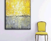 "ORIGINAL Large Art Abstract Painting Yellow Grey Modern Textured Coastal Wall Decor Urban Gold White Horizon Canvas 40"" - Christine Krainock"