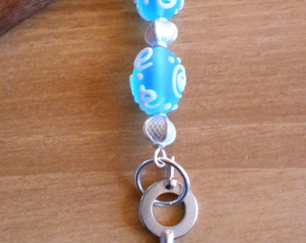 Alice's Key - blue and white glass and silver hairstick with handcuff key