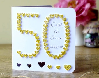 Handmade 50th Golden Wedding Anniversary Card, 50th Anniversary Card, 50, Golden Wedding Card, Golden Anniversary Personalised BHAN50a